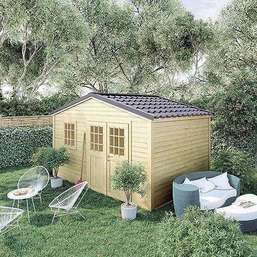 Madeira - Cobertizo de jardín Premium Shelty Plus 11 m2, Gran Capacidad de Almacenamiento, Techo de Acero galvanizado, 395 x 280 x 201 cm: Amazon.es: Jardín