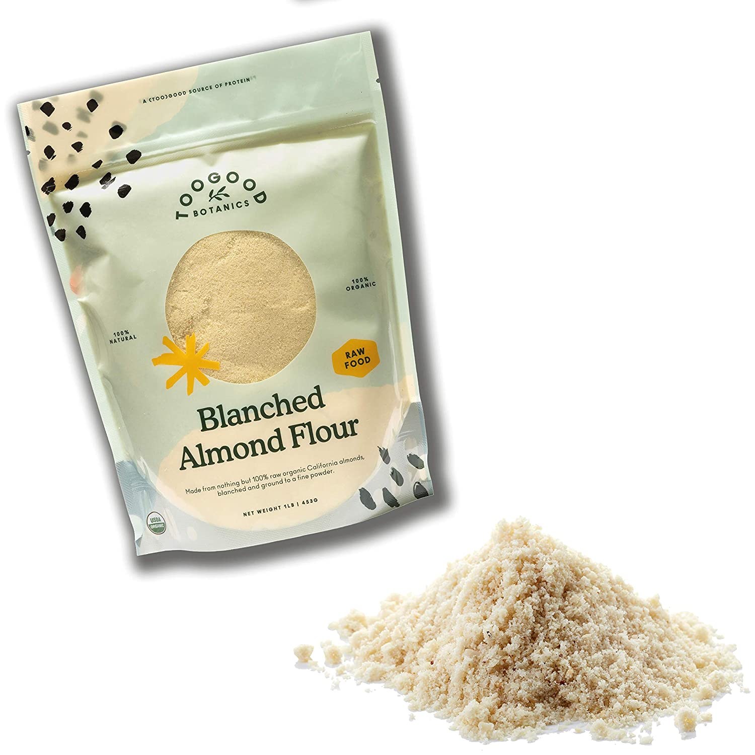 Organic Blanched Almond Flour, Fine Powder, non-GMO, Naturally Harvested, Gluten-free (1 pound/454 grams)[Certified Organic]