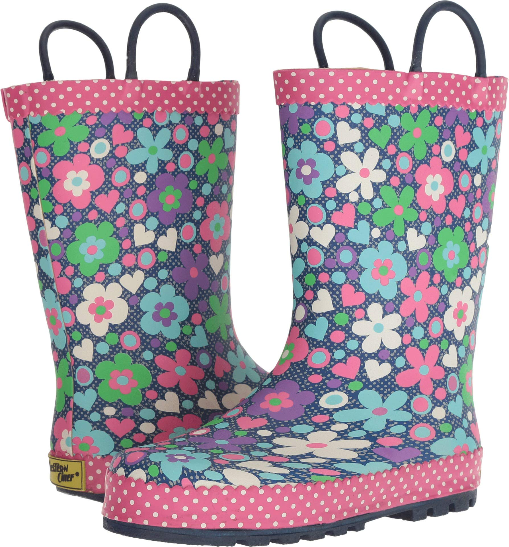 Western Chief Kids Baby Girl's Limited Edition Printed Rain Boots (Toddler/Little Kid) Precious Petals Denim 12 M US Little Kid M