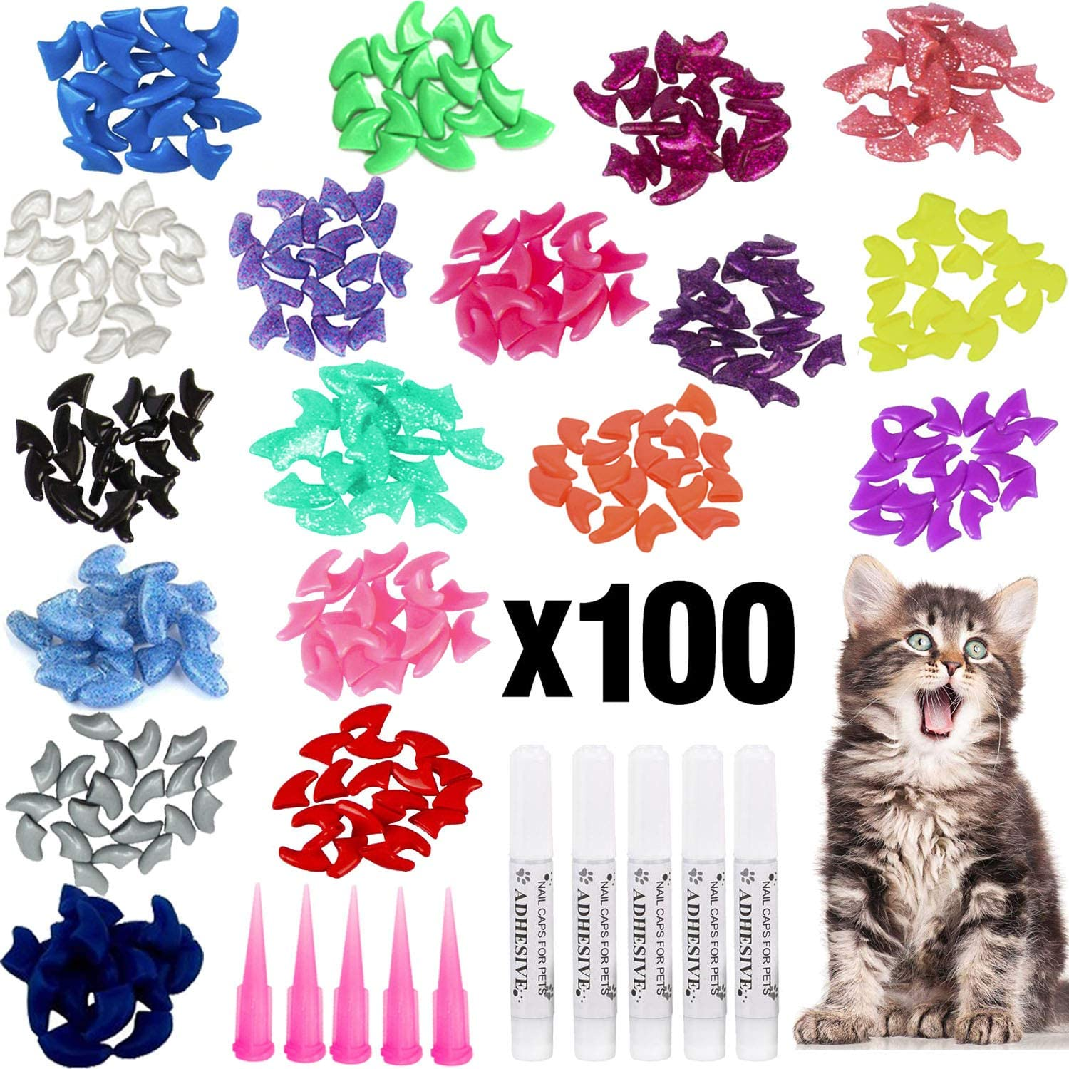 VICTHY 100pcs Cat Nail Caps, Colorful Pet Cat Soft Claws Nail Covers for Cat Claws with Glue and Applicators, 10 Colors/Set