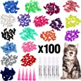 VICTHY 100pcs Cat Nail Caps, Colorful Pet Cat Soft Claws Nail Covers for Cat Claws with Glue and Applicators Small