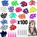 VICTHY 100pcs Cat Nail Caps, Colorful Pet Cat Soft Claws Nail Covers for Cat Claws with Glue and Applicators Extra Small