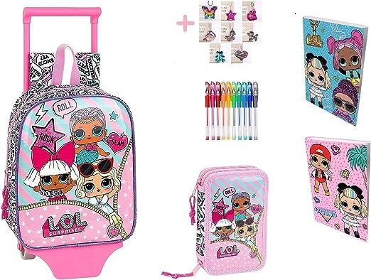 Mochila infantil Lol Surprise + estuche con 2 cremallera completo + diario + 10 bolígrafos de colores + llavero de regalo: Amazon.es: Ropa y accesorios
