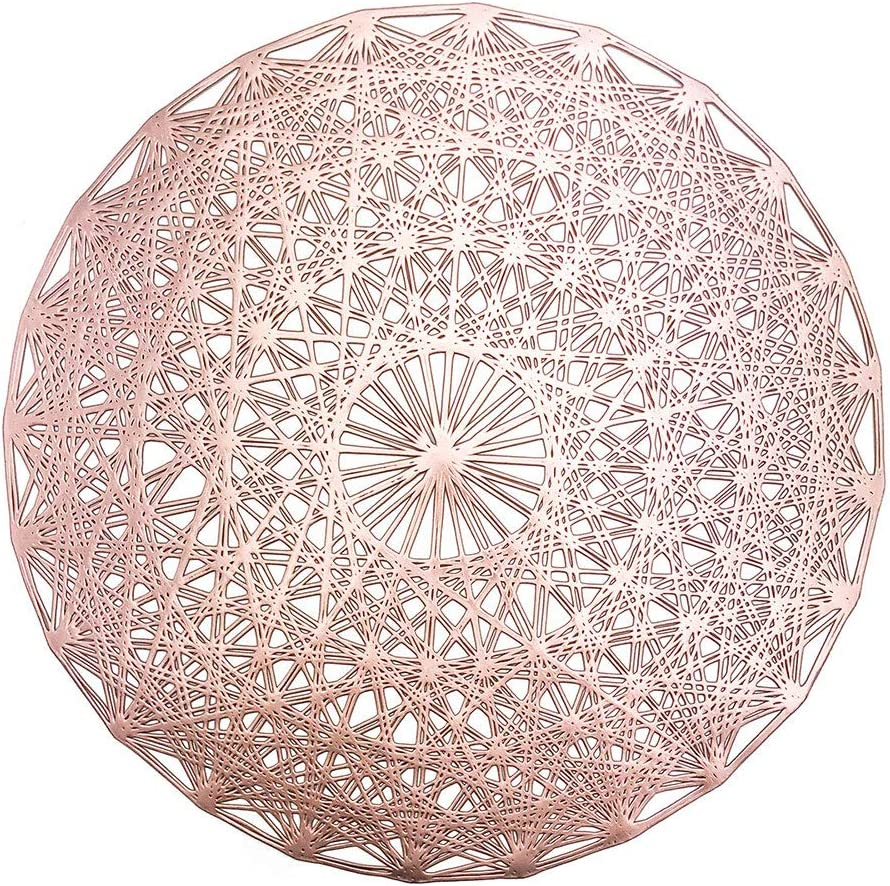 MLADEN Round Placemats Set of 4, Creative Place Mats for Wedding Holiday and Dining Table Decor, Rose Gold