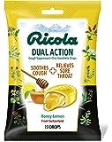 RICOLA Dual Action Honey Lemon Cough and Throat Drops, 19 Count