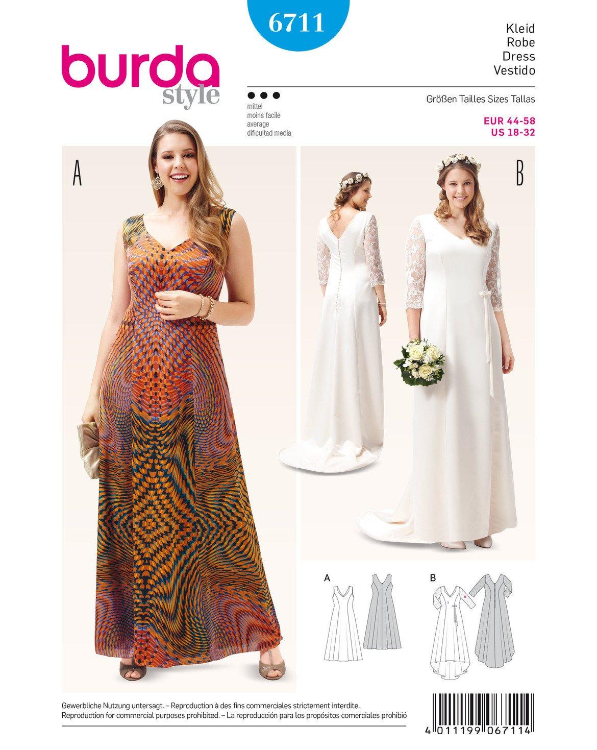 Burda 6711 Schnittmuster Abendkleid Brautkleid mit Spitzenärmeln ...