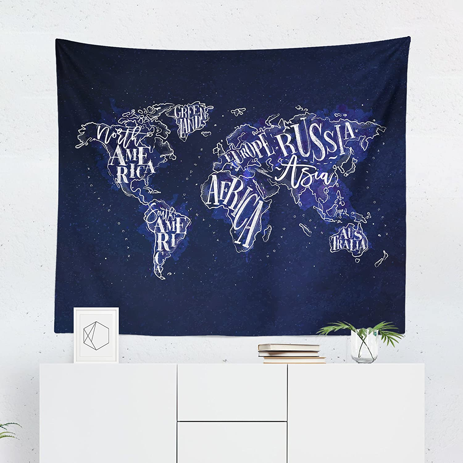 Blue World Map Tapestry - Maps Global Country Navy Wall Tapestries Hanging Décor Bedroom Dorm College Living Room Home Art Print Decoration Decorative - Printed in the USA - Small Medium Large Sizes
