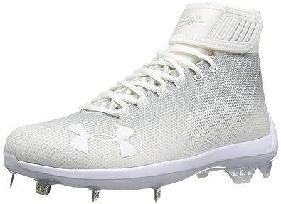 655039472 Under Armour Men s Harper 2 Mid ST Baseball Shoe White (100) Metallic Silver