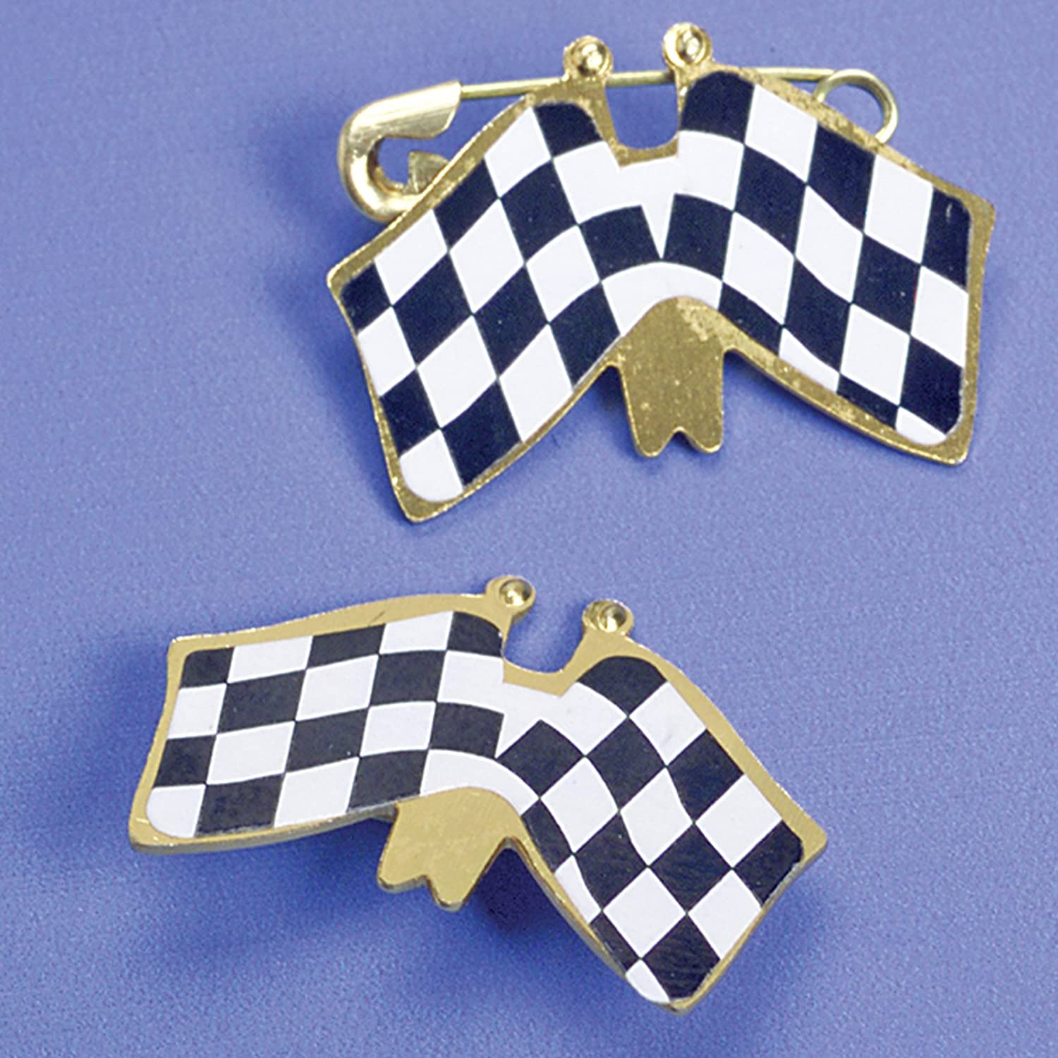 Double Racing Flag Pins Party Accessory-48 Pcs
