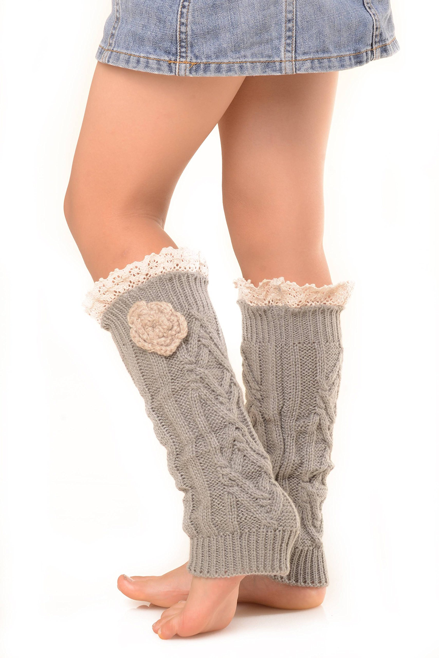 ICONOFLASH Girl's Cold Weather Leg Warmers with Floral Detail, Grey