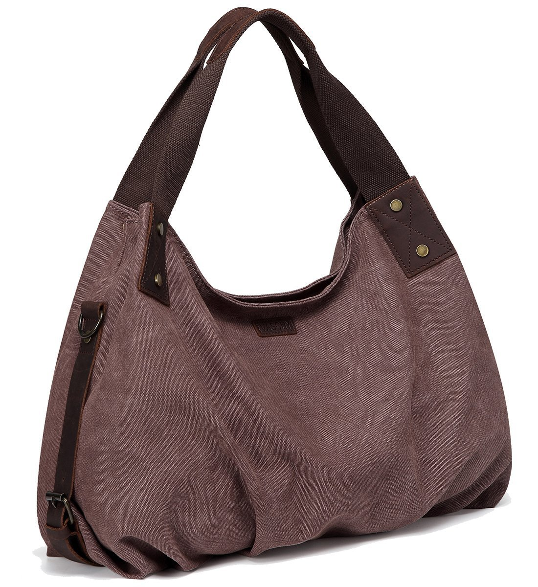 Canvas Hobo Bag,VASCHY Vintage Large Leather Canvas Tote Handbag for Women Top Handle Work Bag Brown with Detachable Shoulder Strap