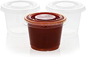 Juvale 250-Pack Plastic Portion Control Cups with Lids for Jello Shots, Condiments and Sauces, 2.5 Ounces