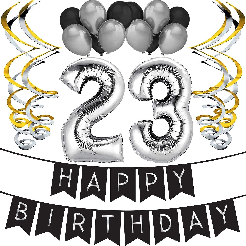 """Decorazioni di Compleanno Forniture per Feste 17/° Compleanno Pompon /& Vortici Confezione Festa 17/° Compleanno /""""Happy Birthday/""""- Striscione di Buon Compleanno Nero /& Argento Sterling James Co"""
