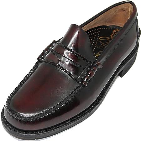 1639. Zapato mocasín Cosido a Mano en Inca Mallorca; Piel de máxima Calidad, Color Burdeos