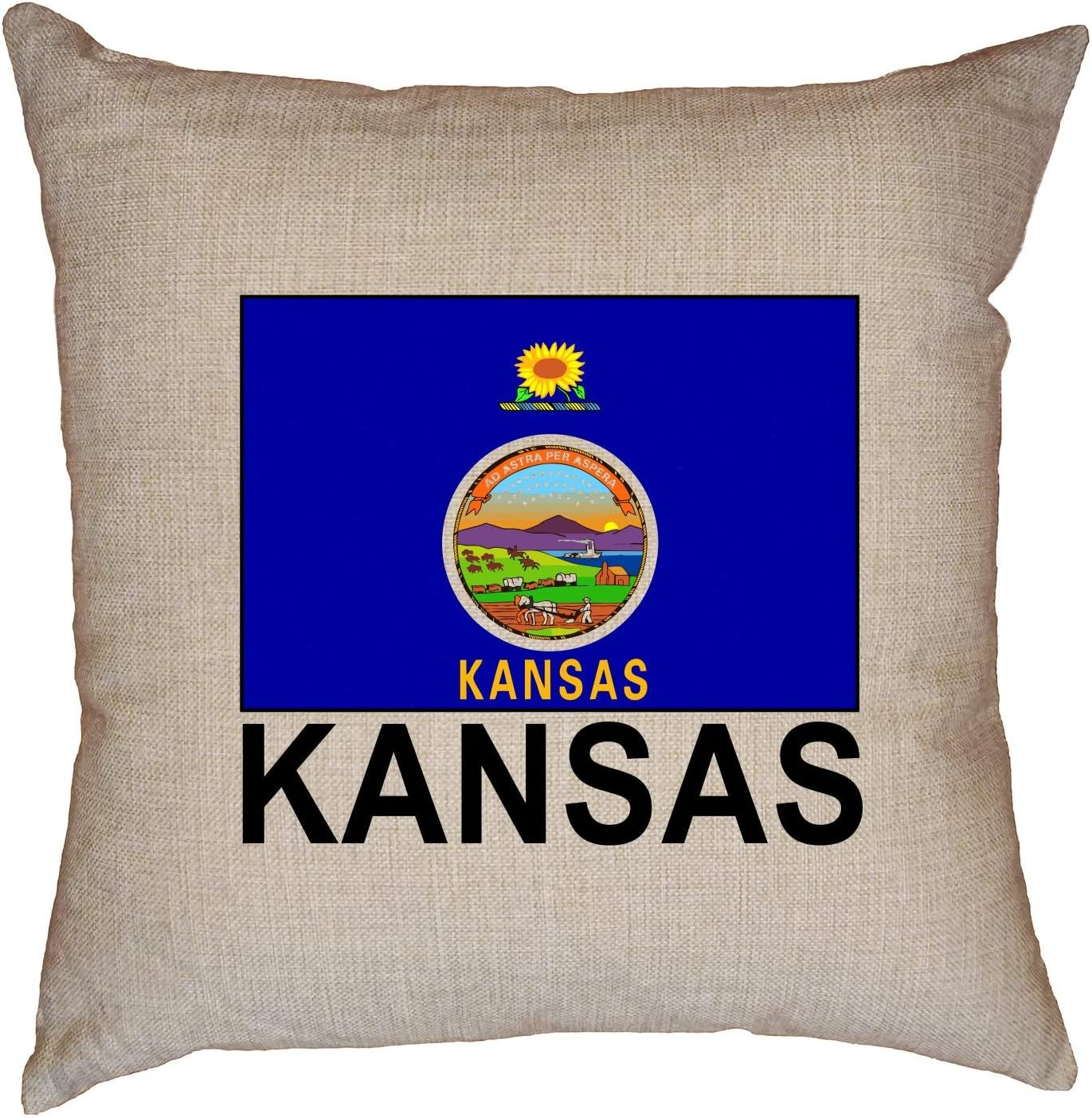 Hollywood Thread Kansas State Flag Special Vintage Edition Decorative Linen Throw Cushion Pillow Case With Insert Home Kitchen