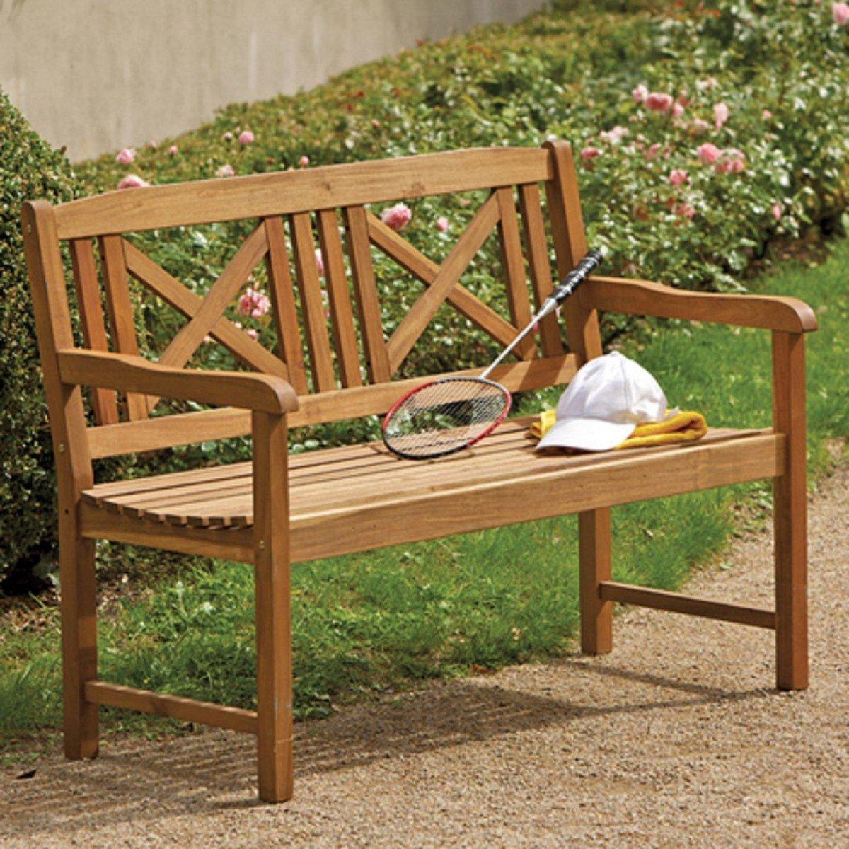 Dreams4Home Gartenbank 'Luca' - Sitzbank, Bank, Holzbank, Consul Garden, 2 Sitzer B/T/H: 112 x 48 x 44 cm, 3 Sitzer B/T/H: 142 x 48,5 x 44 cm, geöltes Akazienholz, Zinkbeschläge, Gartenmöbel, Terrasse, Balkon, Outdoor, geölt, Ausführung:2-Sitzer