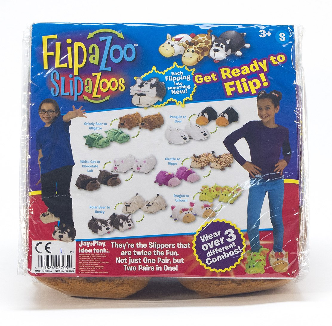 47a4fd8f02c Amazon.com  FlipaZoo SlipaZoos by Jay at Play (Alligator to Grizzly Bear    Small) - Transforming Animal Slippers Are Two Pairs in One – Plush Comfort  for ...