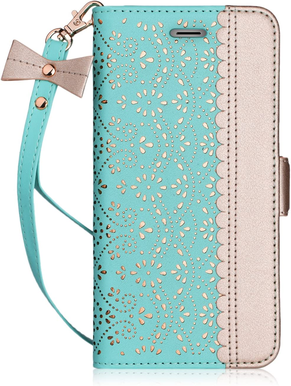 """WWW iPhone 6S 4.7"""" Case, iPhone 6 Case, [Luxurious Romantic Carved Flower] Leather Wallet Case with [Inside Makeup Mirror] and [Kickstand Feature] for Apple iPhone 6/6S Mint Green"""