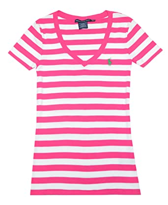 55c679f77 Ralph Lauren Sport Women V-neck Ribbed Striped Pony Logo T-shirt (S ...