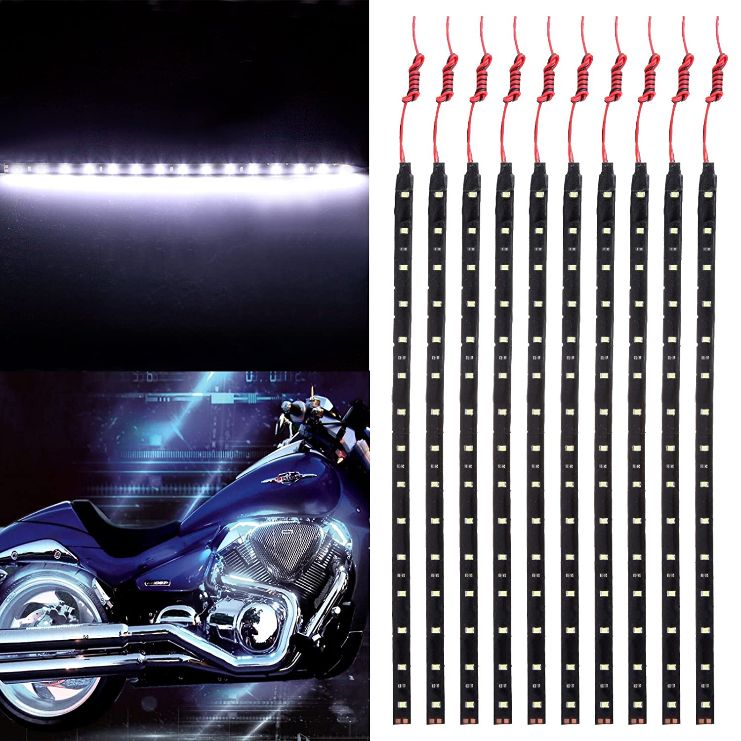 RGB 30CM 15-SMD White Accent Glow Neon Lights Lamp Waterproof Turn Signal Light Replacement fit for Pickup SUV Jeeps RV Dodge Ram Toyota Chevy GMC,10 Pack 5559038145 OCPTY Motorcycle LED Strip Light