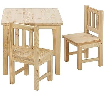 BOMI Stabile Kindermöbel: Tisch mit Stühle Amy aus Kiefer Massiv Holz    unbehandelt und unlackiert   naturbelassene Sitzmöbel für Kinder    kleinkinder ...