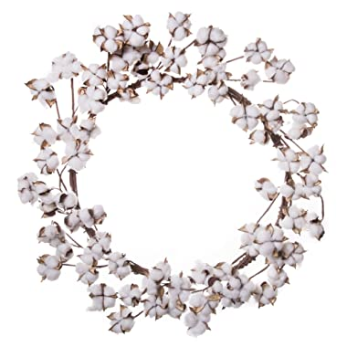 Red Co. Farmhouse Full White Cotton Wreath- Home Decor for Front Door - 26 Inches