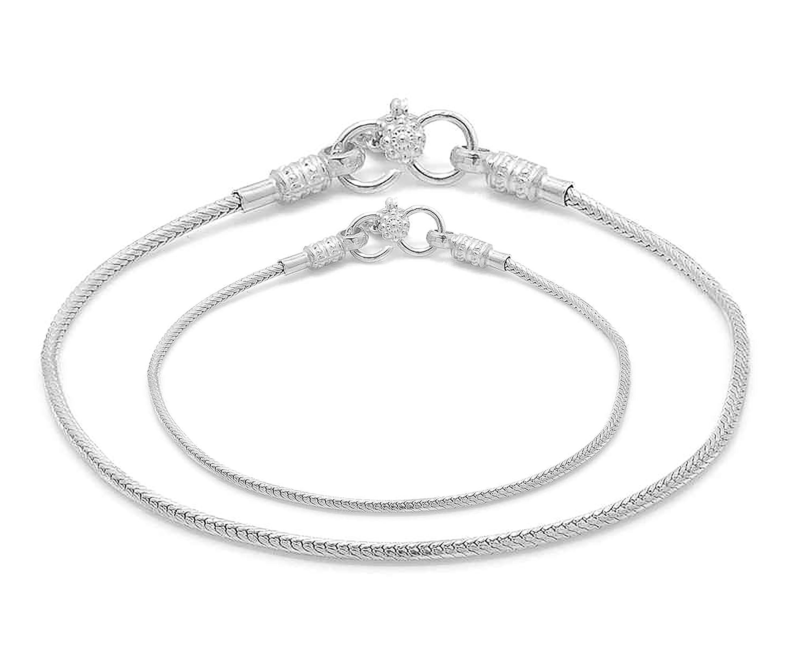D&D Crafts Sterling Silver Anklets For Girls, Women