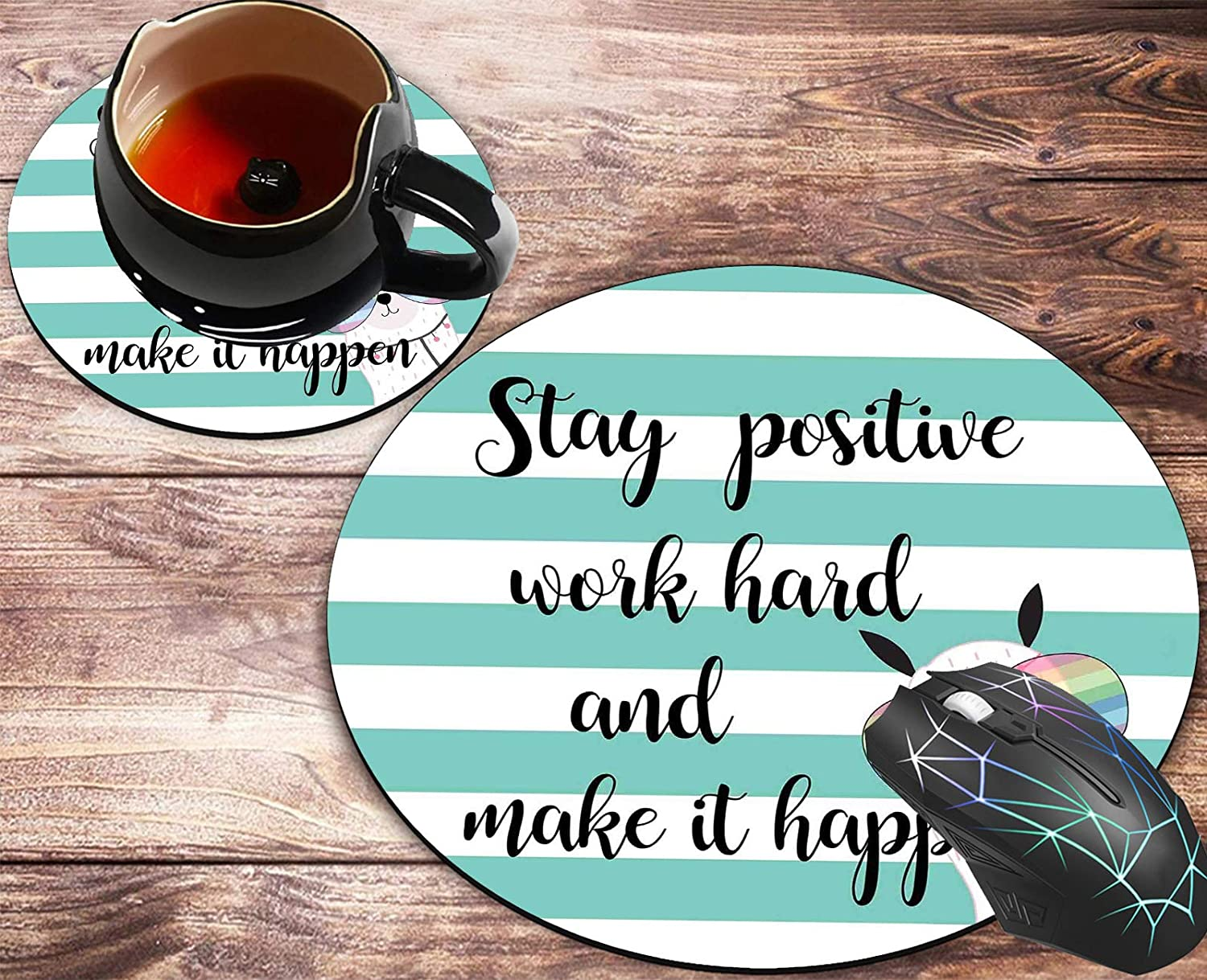 Round Mouse Pad and Coasters Set,Motivational Quote Stay Positive, Work Hard Inspirational Quotes Mousepad, Anti Slip Rubber Round Mousepads Desktop Notebook Mouse Mat for Working and Gaming