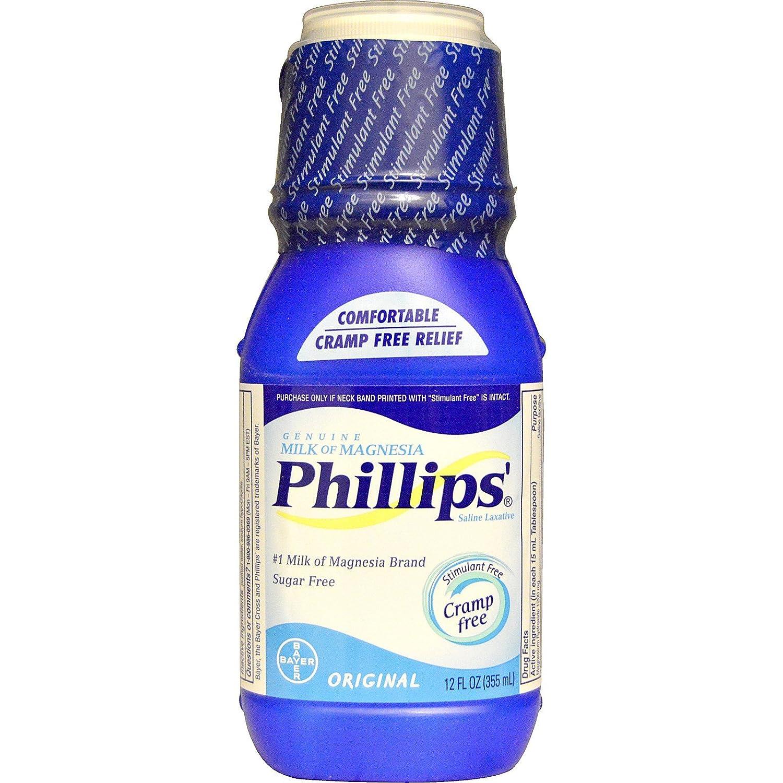 Amazon.com: Phillips, Genuine Milk of Magnesia, Saline Laxative, Original, 12 fl oz (355 ml) - 3PC: Health & Personal Care