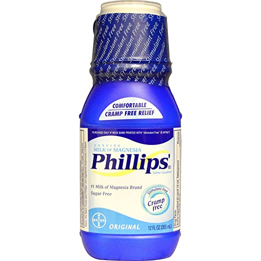 Amazon.com: Phillips, Genuine Milk of Magnesia, Saline Laxative, Original, 12 fl oz (355 ml) - 3PC: Health & Personal Care
