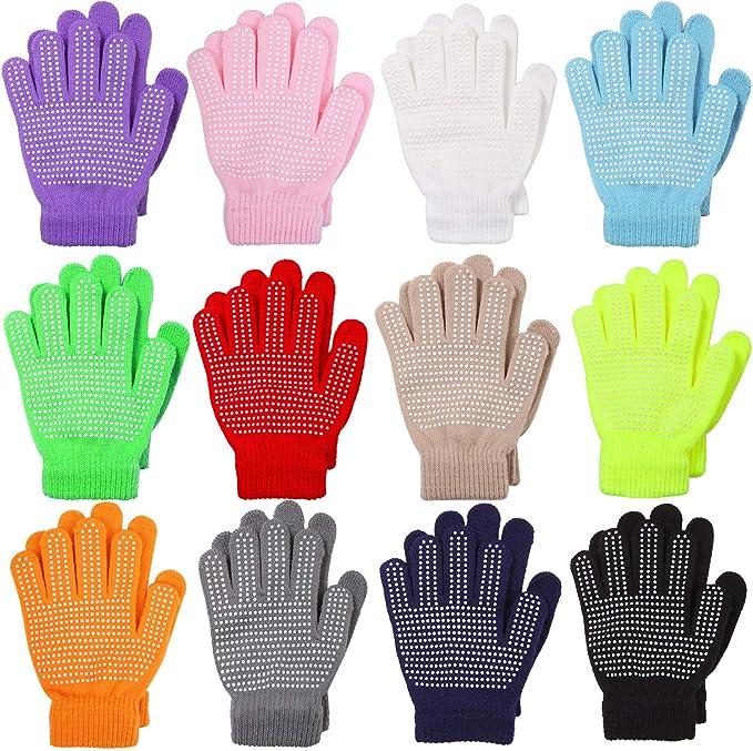 caldi e invernali per adolescenti in maglia con dita intere elasticizzati 6 paia di guanti magici per bambini Cooraby