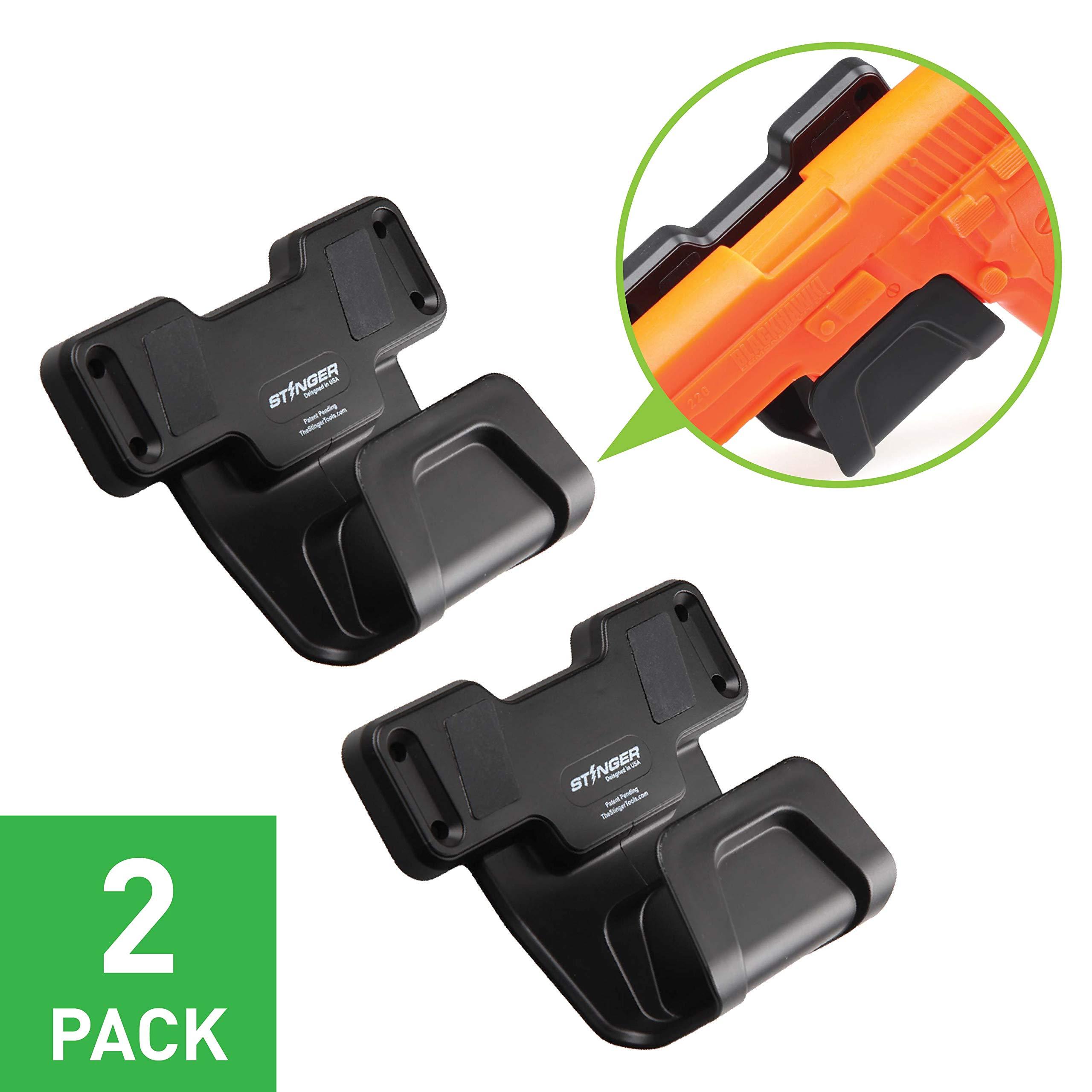 Stinger Safety Trigger Guard Protection Magnetic Gun Holder, Easy Conceal in Car, Truck, Vehicle, Desks, Safes, Walls, Handgun Rifle Shotgun Pistol Revolver, Gun Mount Rack (2 Pack) by Stinger