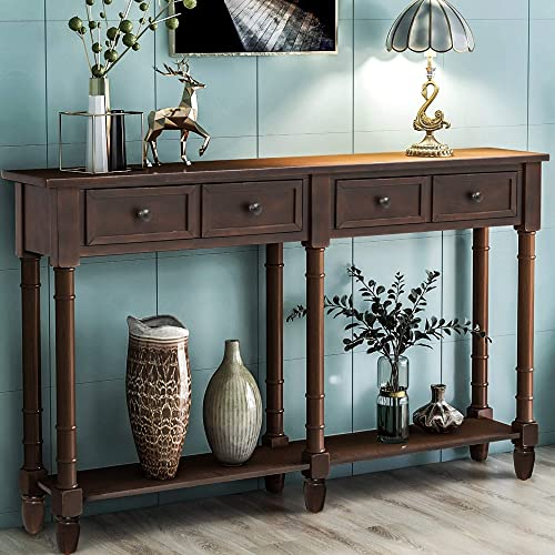 Retro Console Table Sofa Table for Entryway with Drawers and Shelf Living Room Table Espresso