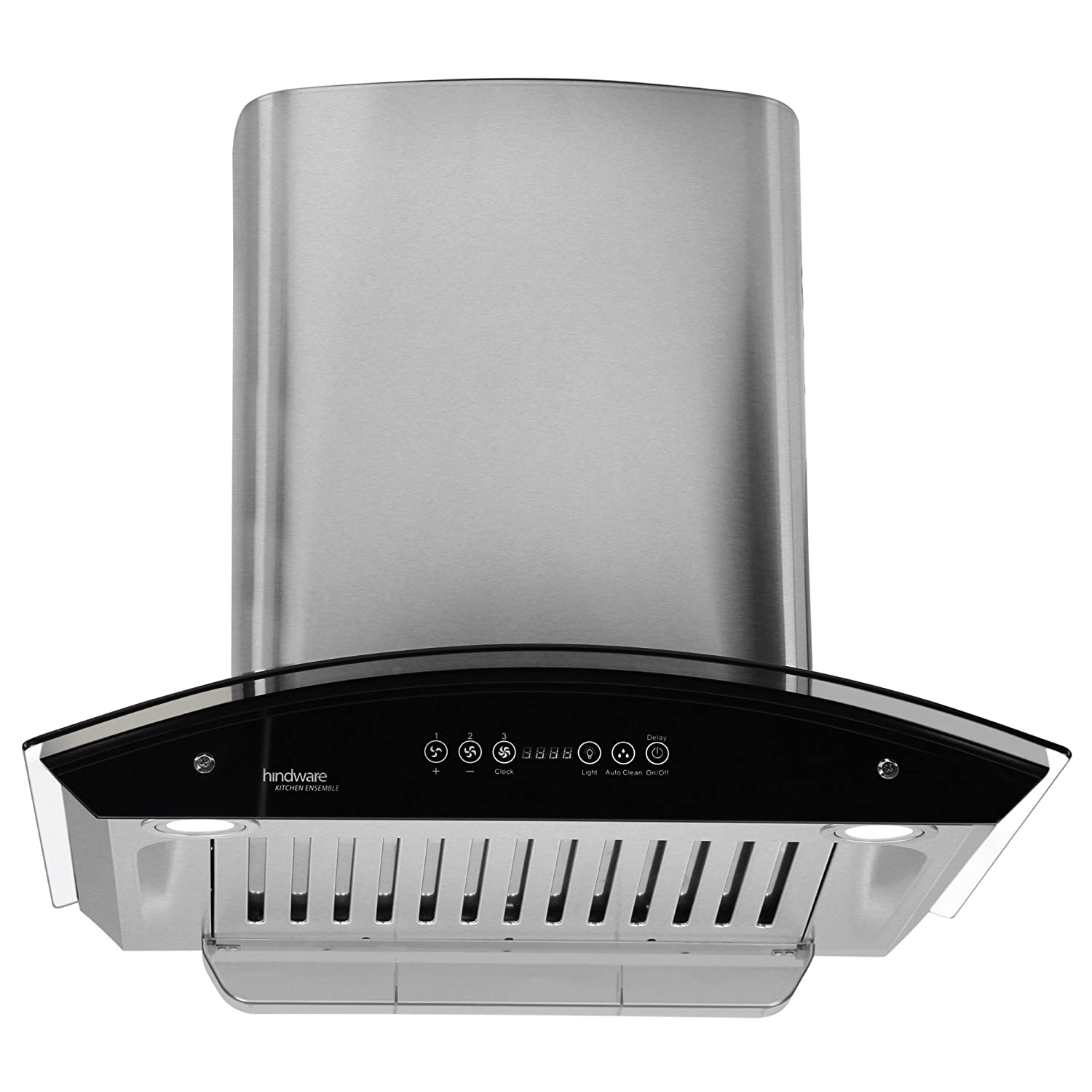 Hindware 60cm 1200 M3 Hr Auto Clean Chimney Cleo 60 1 Baffle Automatic Range Hood Filter Steel Grey Home Kitchen