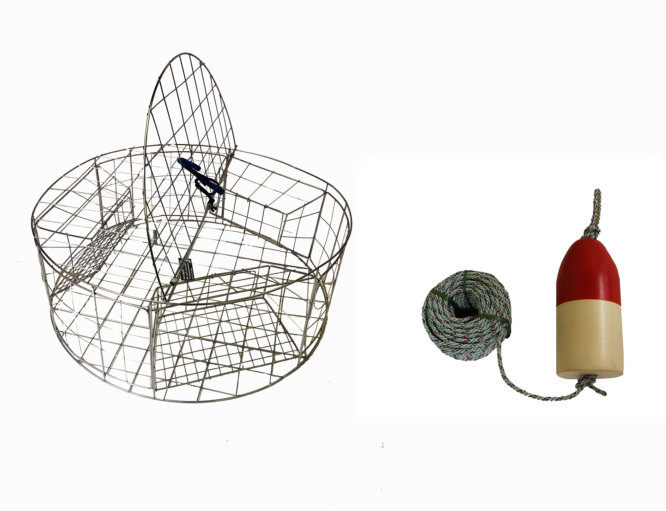 KUFA Stainless Steel Round Crab Trap with sacrificial anode Zinc & 1/4 x100' leaded rope with 6'' x 14'' Red/White float Combo (CT120+FQL103+ZIN1)