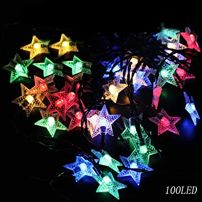 WINBOOM Solar Powered Star String Lights Outdoor, 39.4 FT 8 Modes 100 LED Twinkling Fairy Lights Waterproof Decorative Multicolor Star Light for Christmas Party Wedding Home Garden Yard(Multi Color) : Garden & Outdoor