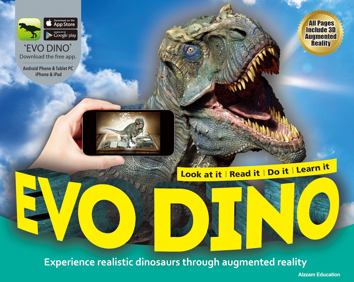 Amazon EVO DINO Augmented Reality AR Book 3D Interactive Childrens Learning Dinosaurs With Fun App Office Products