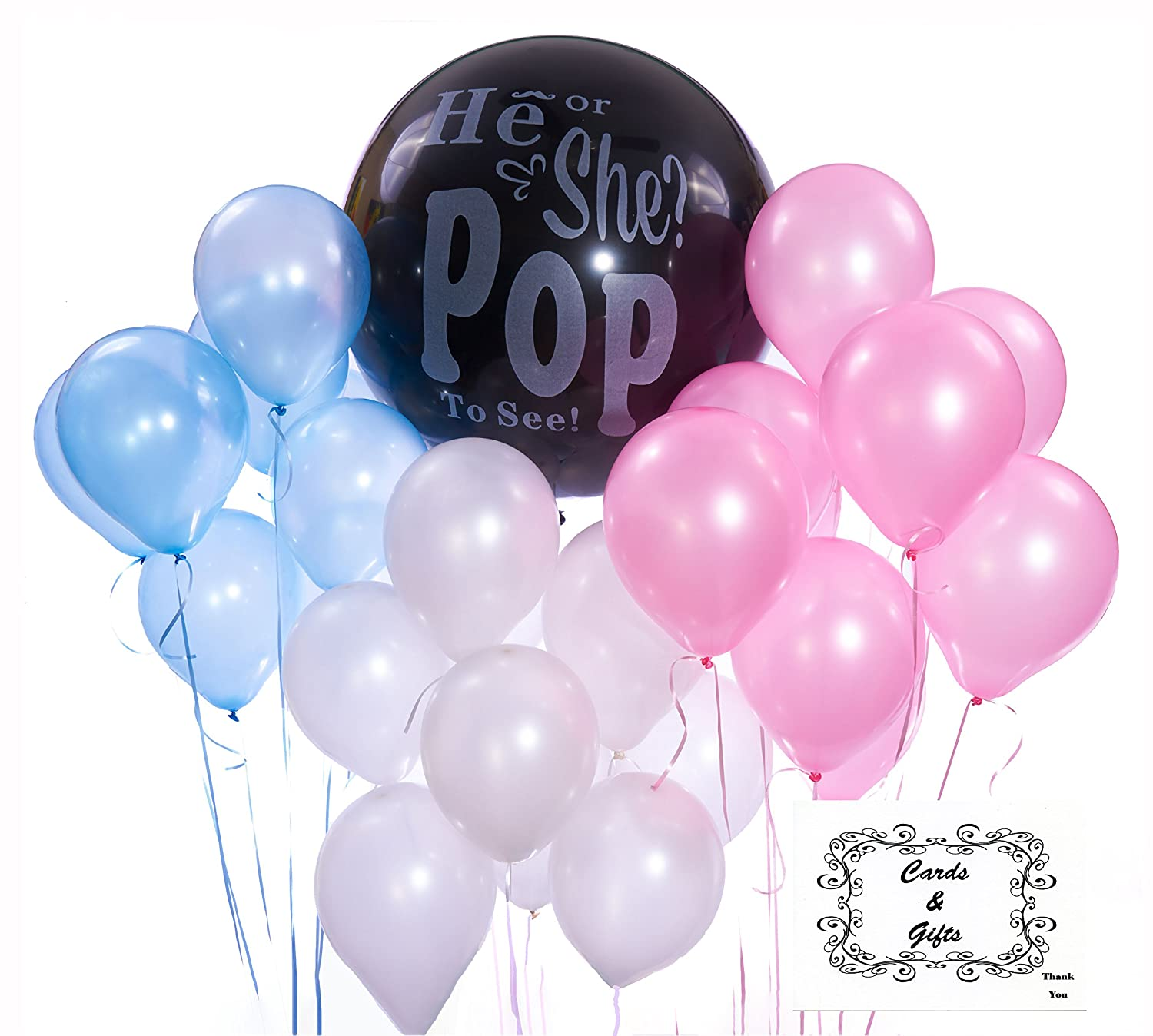 Amazon Baby Gender Reveal Party Pack and Balloon Kit Black 36
