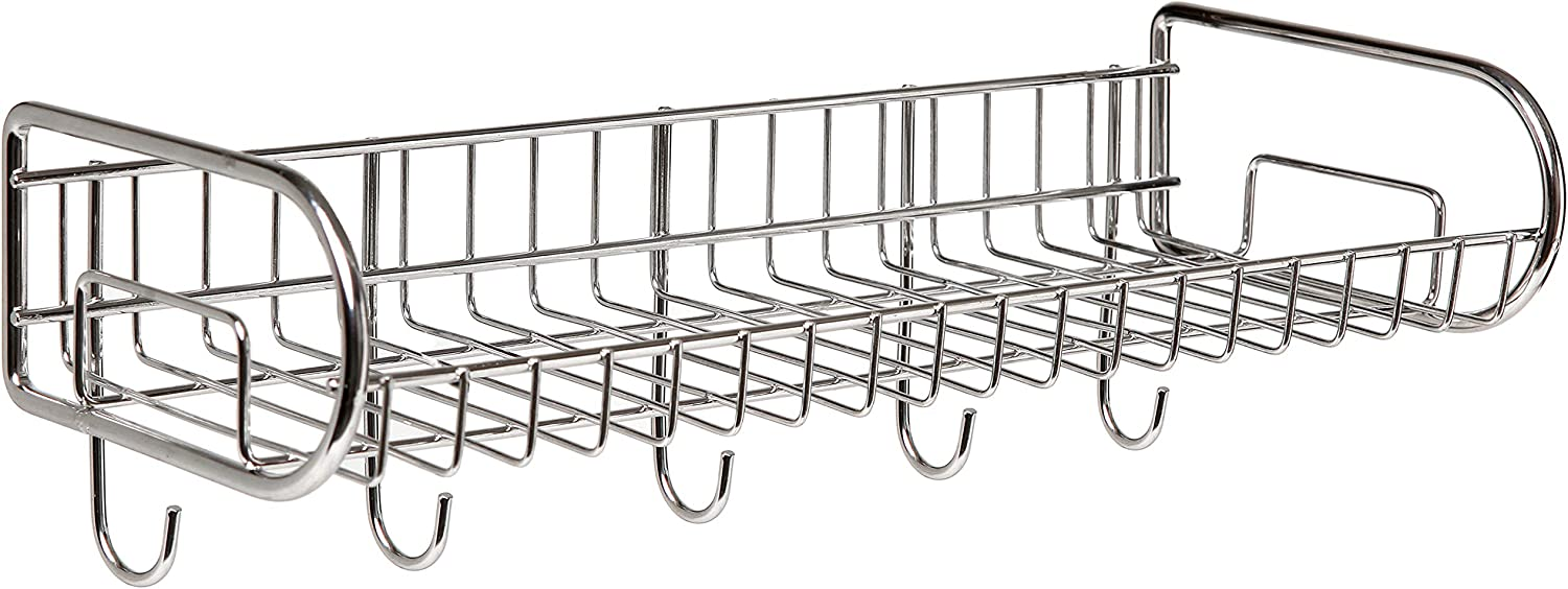 MyGift Stainless Steel Wall-Mounted Storage Shelf/Utility Rack/Hook Hanger