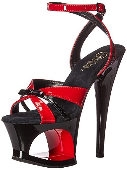 0bd55804e79 Pleaser Cut Out Platform Wrap Around Ankle Strap Sandal Red-Black  Patent Black