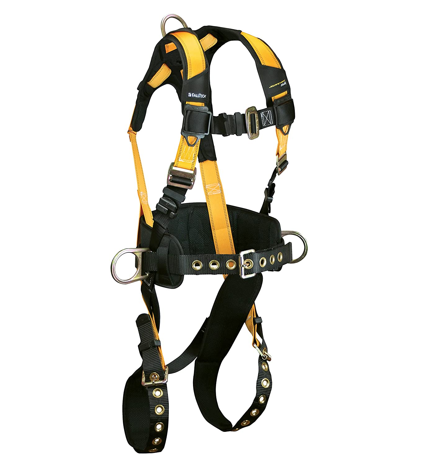 FallTech 7035L Journeyman Full Body Polyester Harness with 3 D-Rings and Tongue Buckle Leg Straps with Belt Large