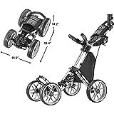 CaddyTek 4 Wheel Golf Push Cart - Caddycruiser One Version 8 1-Click Folding Trolley - Lightweight, Compact Pull Caddy…