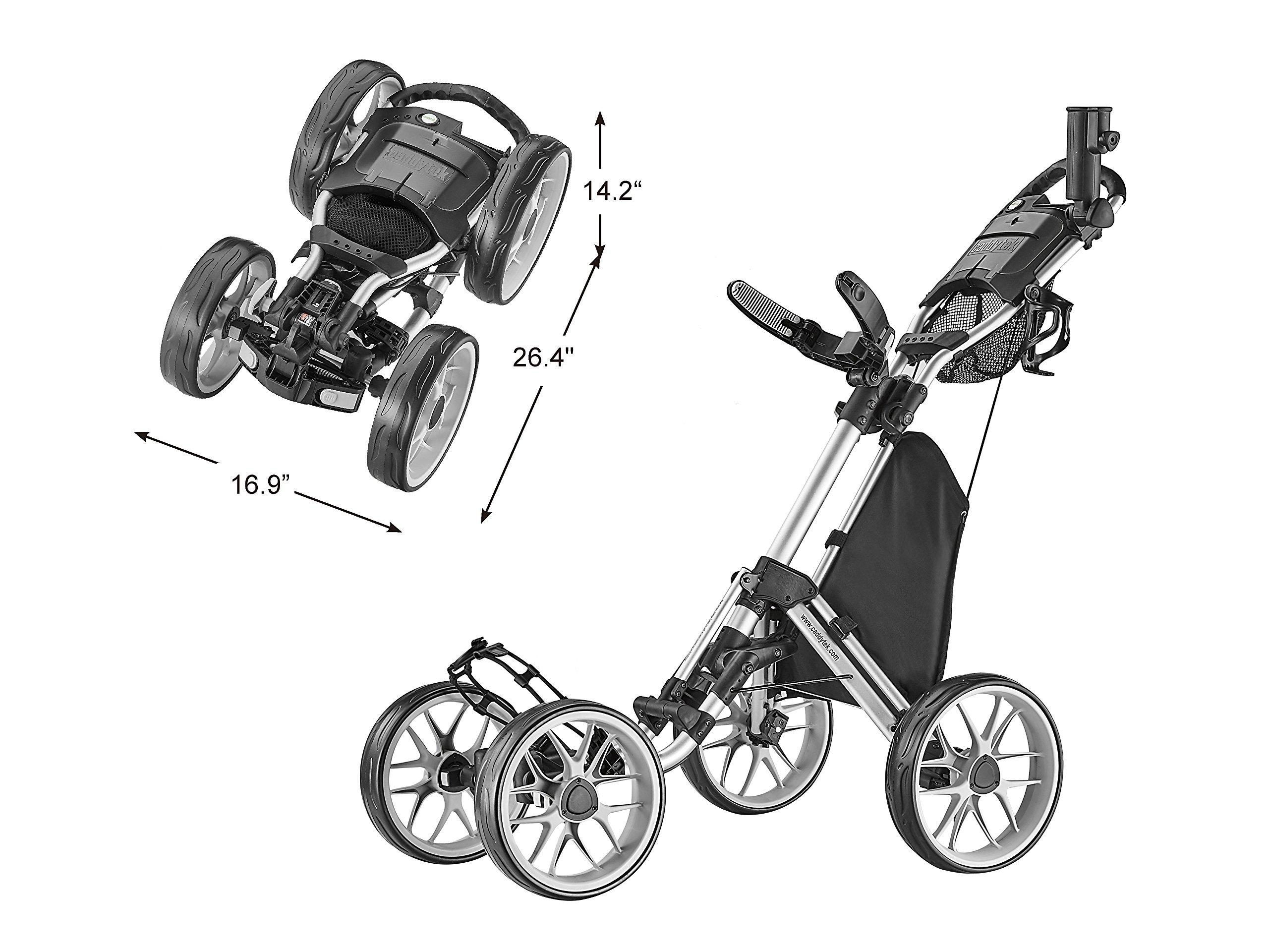 CaddyTek Caddycruiser One Version 8 - One-Click Folding 4 Wheel Golf Push Cart, Silver by CaddyTek