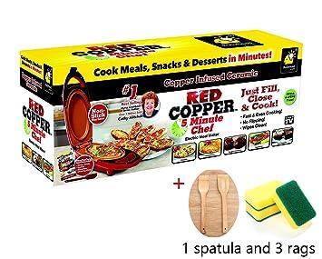 Red Copper 5 Minute Chef, incluye espš¢tula y gušªa de recetas: Amazon.es: Hogar