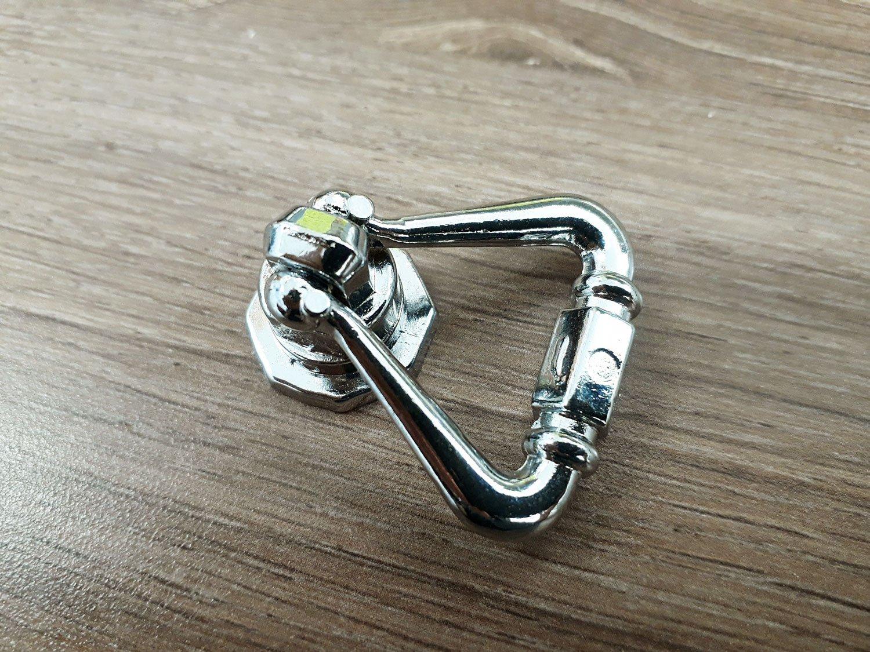 Longueur 1,7 pouces 5PCES Nickel poli 1,7 19 mm DABOSS Meubles B0045 tiroir Triangle Goutte anneau Bouton Pulls de longueur 43 mm largeur 0,7 43 mm