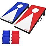 GoSports Portable Size Cornhole Game Set with 6 Bean Bags - Great for Indoor & Outdoor Play (Choose Between Classic or Wood D