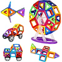 Magnetic Blocks Sets, Zooawa Magnetic Tiles Plate Kits Discovery Construction Educational Shapes Toy 78 Pcs for Kids and Toddlers, Colorful