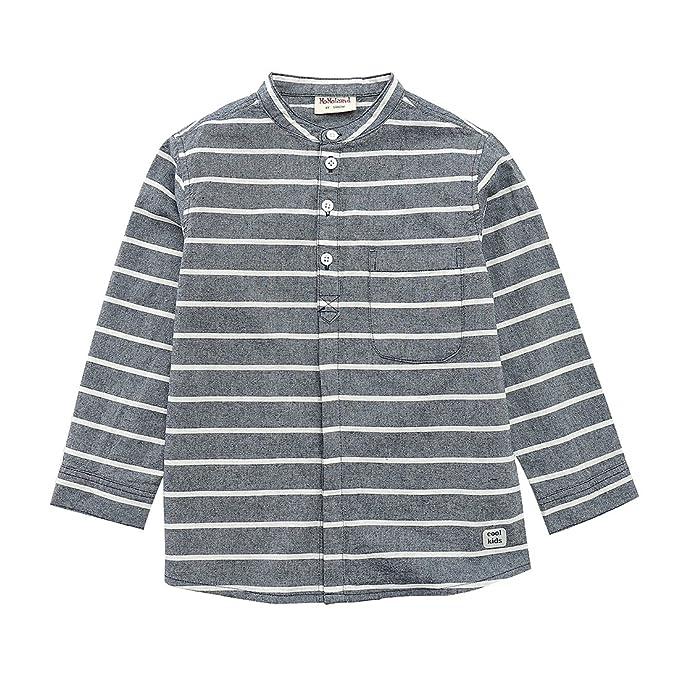 bf1d0115296 MOMOLAND Boys Long Sleeve Mandarin Collar Woven Button Down Shirt Linen  Design Navy Stripes (4