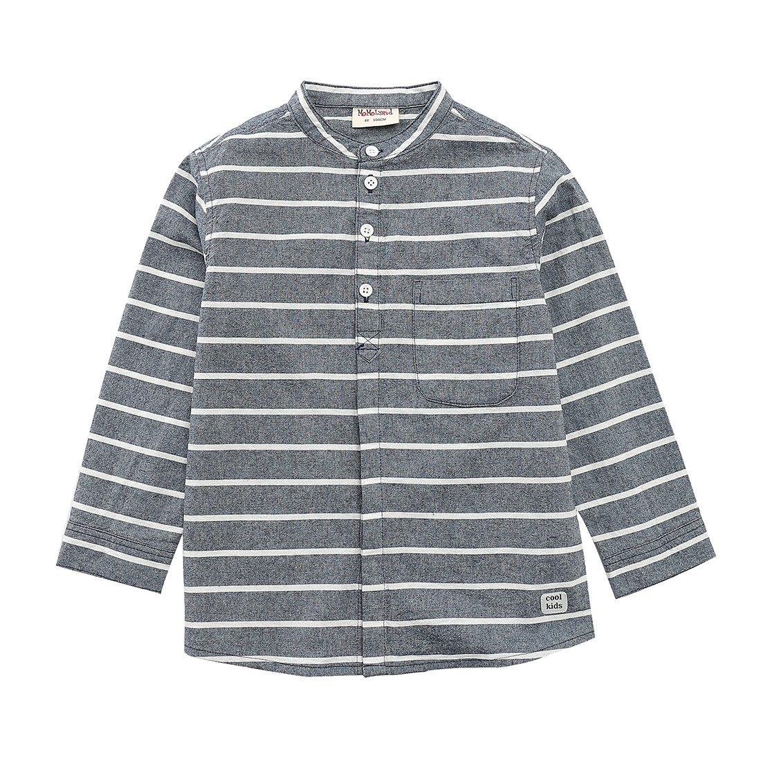 MOMOLAND Boys Long Sleeve Mandarin Collar Woven Button Down Shirt Linen Design Navy Stripes (10 Years, Navy and White Stripe)