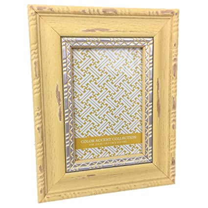 Amazon.com - Picture Frame Wood Distressed Yellow with Silver Accent ...